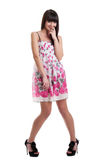 Pretty girl in summer transparent dress cofused Stock Image