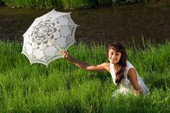Pretty girl with sun umbrella Royalty Free Stock Photo