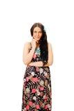 Pretty girl in sundress over white background Stock Photos