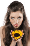 Pretty girl with sunflower Royalty Free Stock Photography