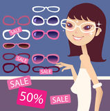 Pretty girl and sunglasses. Pretty girl in a sunglasses shop vector illustration