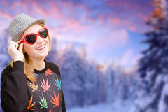 Pretty girl in sunglasses happy smiling on winter Stock Images