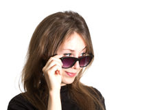 Pretty girl sunglasses isolated white Stock Photos
