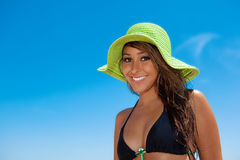 Pretty girl in swimsuit Stock Images