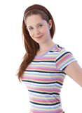 Pretty girl in t-shirt smiling Royalty Free Stock Image