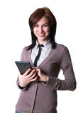 Pretty girl with a tablet Royalty Free Stock Image