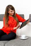 Pretty girl with tablet computer Royalty Free Stock Photo