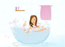 Pretty girl taking bath with glass of champagne. Pretty girl taking bubble bath with glass of champagne illustration Royalty Free Stock Image