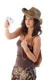 Pretty girl taking photo on holiday Royalty Free Stock Photography