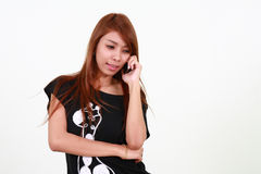 Pretty girl talking on the cellphone Stock Photo