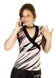 Pretty girl talking at mobile. Phone. Isolate on white Stock Images