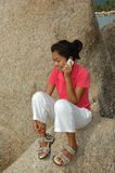 Pretty Girl Talking on Mobile Phone Stock Images