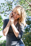 Pretty Girl Talking on Mobile Phone, Cell Phone Stock Photos