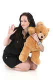 Pretty girl with teddy bear Stock Photo