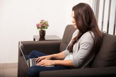 Pretty girl telecommuting Royalty Free Stock Images