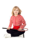 Pretty girl with a tennis racket Royalty Free Stock Photo