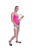 Pretty girl with tennis racket on white Stock Photo