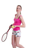 Pretty girl with tennis racket on white Stock Image