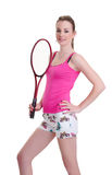 Pretty girl with tennis racket on white Royalty Free Stock Photos