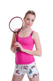 Pretty girl with tennis racket on white Stock Images