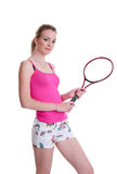 Pretty girl with tennis racket on white Stock Photography