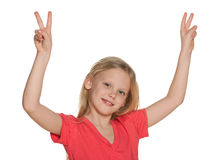 Pretty girl with their hands up Royalty Free Stock Photography