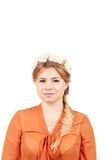 Pretty girl with thick long braid. Stock Photo