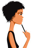 Pretty girl thinking. Pretty girl thinking with short black hair and pen in hand. Vector illustration Stock Images