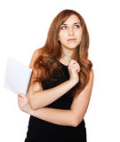 Pretty girl with notepad. Stock Photos