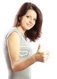Pretty girl with thumbs up Royalty Free Stock Photo