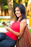 Pretty girl with touchscreen tablet Royalty Free Stock Images