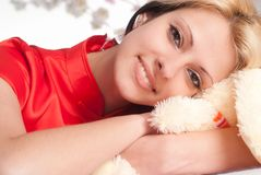 Pretty girl with toy Stock Image