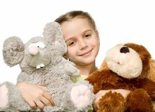 Pretty girl with toys Royalty Free Stock Photos