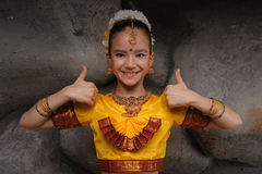 Pretty girl in traditional costume Stock Images