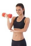 Pretty girl training with dumbbell smiling Royalty Free Stock Images