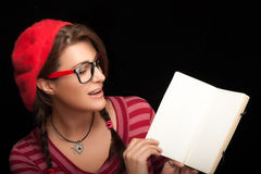 Pretty Girl in Trendy Clothing Holding Blank Notes Stock Photo