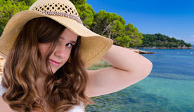 Pretty girl on tropical vacation Royalty Free Stock Images