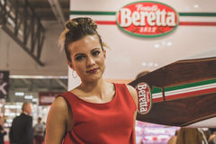 Pretty girl at Tuttofood 2015 in Milan, Italy Stock Image