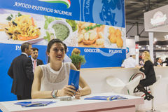 Pretty girl at Tuttofood 2015 in Milan, Italy Stock Images