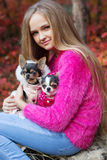 Pretty girl with two chihuahua dogs on the nature royalty free stock photography