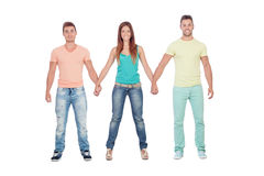Pretty girl with two handsome boys Royalty Free Stock Photography