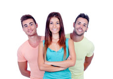 Pretty girl with two handsome boys Stock Image