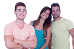 Pretty girl with two handsome boys Stock Photography
