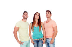 Pretty girl with two handsome boys looking up Stock Image