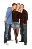 Pretty girl and two lovely guys Royalty Free Stock Photography