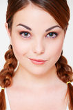 Pretty girl with two pigtails Stock Image