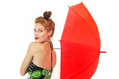 Pretty girl with umbrella and strawberry Royalty Free Stock Photo
