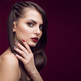 Pretty girl with unusual hairstyle, bright makeup Royalty Free Stock Photo