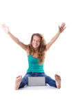 Pretty girl using laptop isolated on white Royalty Free Stock Photos