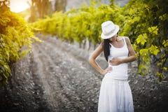 Pretty girl in the vineyard Royalty Free Stock Photo